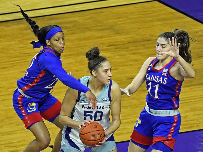 Kansas State's Ayoka Lee works against Kansas defenders Chandler Prater and Ioanna Chatzileonti during Saturday's Sunflower Showdown game at Bramlage Coliseum. Lee had 28 points and 16 rebounds in the Wildcats' 77-66 victory.
