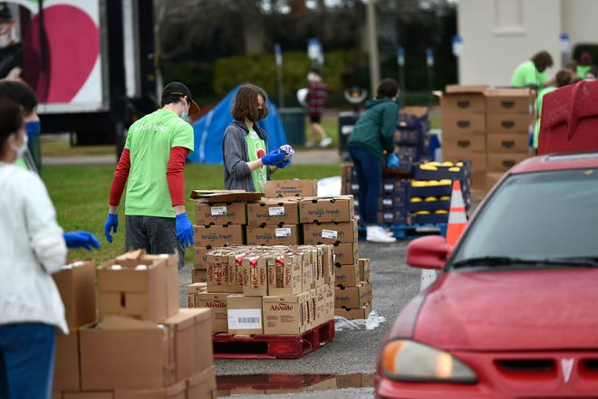 All Faiths Food Bank holds a distribution event in February at Ed Smith Stadium. For the food bank's Autumn Harvest, the Rakay Family Foundation has offered up to $100,000 in matching fundsfor gifts made through Sept.30.