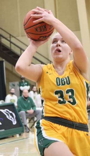Oklahoma Baptist University's Andreja Peciuraite (33) goes up for a shot during a recent home game against East Central.