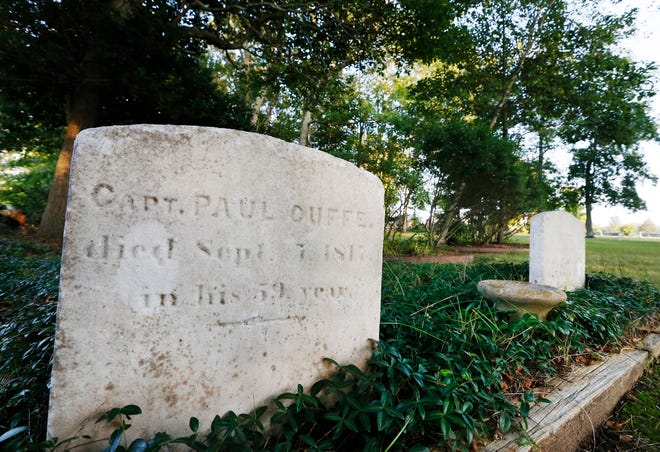 The Paul Cuffe grave site, next to that of his wife, Alice Abel Cuffe, on the right. Cuffe died in 1817, and his wife Alice, died in 1819.