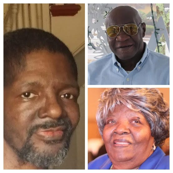 "Victims of Jaques Avenue fire: Gerald 'Jerry"" Prince, left, Woodrow Adams Sr. and Edna Mae Williams"