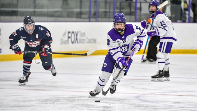 Holy Cross sophomore Sofia Smithson scored in the first period to give the Crusaders a lead over UConn during Saturday night's 4-2 loss.