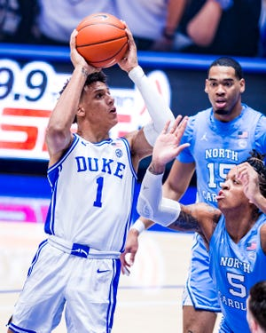 Duke Men's Basketball takes on the University of North Carolina Tar Heels in the first half at the Cameron Indoor Stadium on February  6, 2021 at Durham, North Carolina.