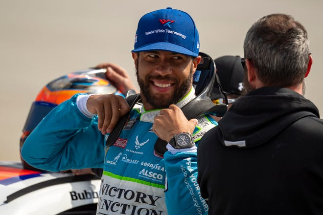 NASCAR driver Denny Hamlin has his own race car team in partnership with Charlotte Hornets owner and NBA great Michael Jordan, and fellow NASCAR driver Bubba Wallace (pictured) is the driver.
