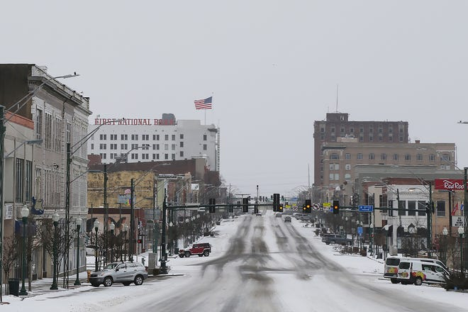 Garrison Avenue looking West, Sunday, Feb. 14, in Fort Smith after snow blanketed the area overnight.
