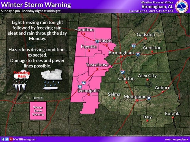 A winter storm warning is in effect for much of west Alabama.
