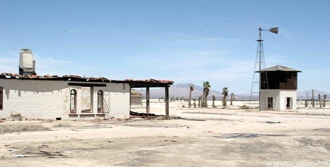 The crumbling clubhouse of the failed Rancho Lucerne development in Lucerne Valley in an undated photo.