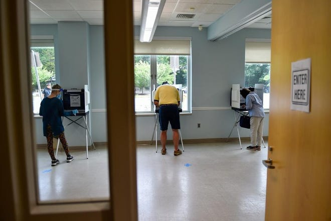 Swampscott residents cast ballots in the town's senior center.