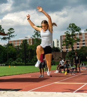 FSU freshman Rūta Kate Lasmane aims to utilize her college experience as a means of achieving Olympic success in the long jump and triple jump.