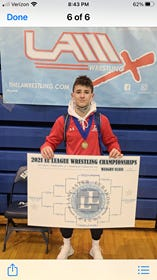 Lebanon sophomore Griffin Gonzalez was named the Lancaster-Lebanon League Wrestling Championships' Most Outstanding Wrestler last Saturday after dominating the 138-pound weight class en route to his second straight league championship. This Saturday, Gonzalez captured the 132-pound title at the 3A sectional tourney at Governor Mifflin.