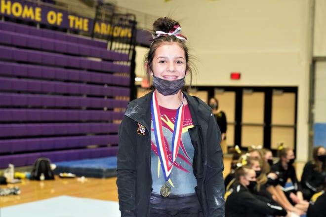 Harrisburg's Izzabella Driscoll won the bars competition with a score of 9.550.