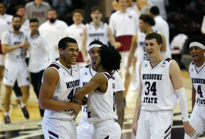 Missouri State Bears forward Gaige Prim (44) celebrates with teammates after a dunk at the end of the first half of a game against the Bradley Braves at JQH Arena on Saturday, Feb. 13, 2021.