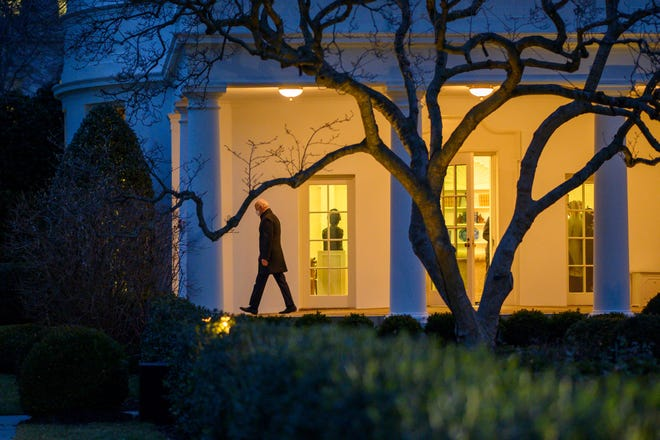 President Joe Biden leaves the White House to spend the weekend in Camp David, on February 12, 2021 in Washington DC.