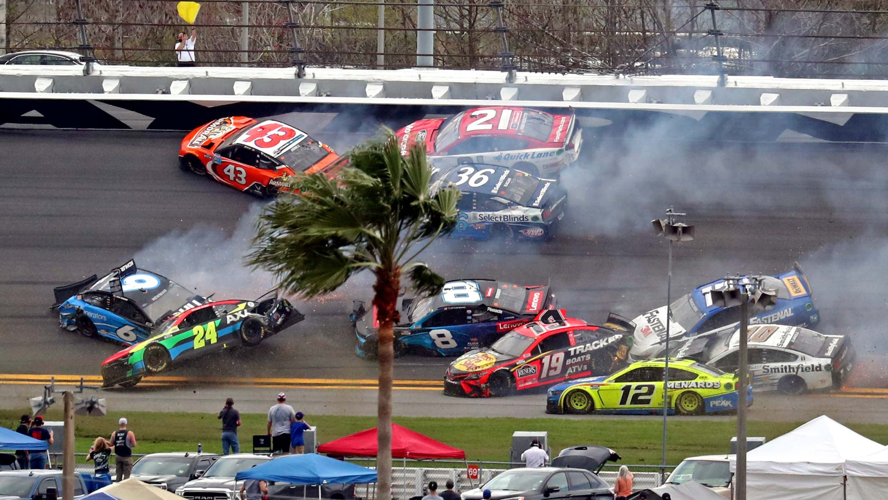 The 'Big One' strikes early as multicar crash unfolds before rain strikes Daytona 500