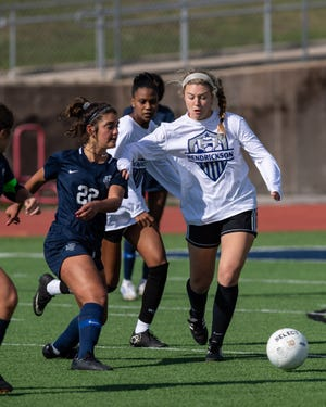 Hendrickson's Isabella Cruz, left, competing in the Hawks' alumni game before last season, had a hat trick in a win over Weiss last week before the winter storm sidelined teams.