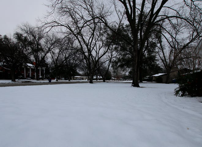 South Brownwood yards are pictured earlier blanketed with snow.