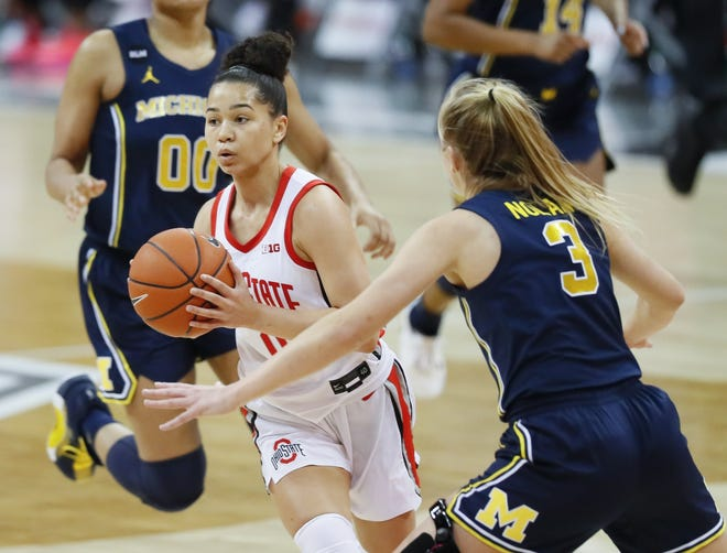 Madison Greene's development from a role player as a freshman to the starting point guard this season has helped put Ohio State in position to compete for a Big Ten championship.