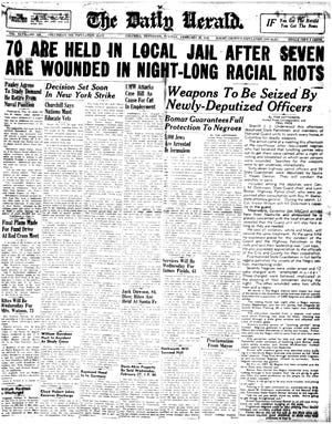 "The front page of The Daily Herald chronicles the events of what has come to be known as the the Columbia race riot of 1946 on Tuesday, Feb. 26, 1946.  Some recent historians dispute the term ""riot,"" describing the incident instead as an uprising when black residents defended their neighborhood, the Bottom, against a raid by the Tennessee Highway Patrol."