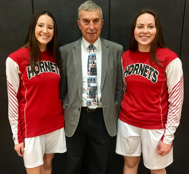 This year's Honesdale girls varsity is led by co-captains Mia Land and Grace Maxson. This dynamic hoops duo was honored Friday with an emotional pre-game Senior Night ceremony. Pictured are (from left): Mia Land, Head Coach Ron Rowe, Grace Maxson.