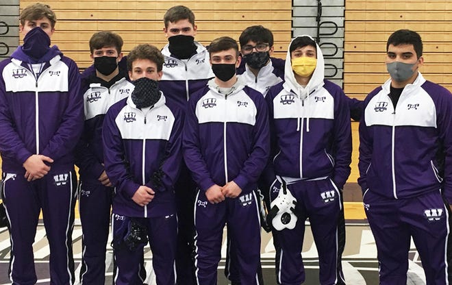 Sam Kier, Dylan Hartman, Matt Brown, Dave Chapman, John Creamer, Nick Parrella, Christian Rivera, and Jody Van Dunk make up the senior class contingent of Wallenpaupack's wrestling team. Due to an abbreviated season, the Buckhorns closed at 4-2 and now prepare for district championships this weekend.
