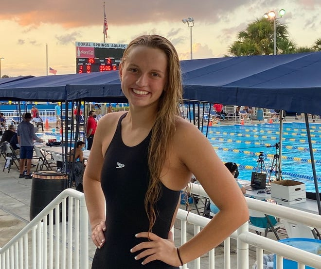Clay High School senior Sara Stotler won two individual championships and a relay title for Planet Swim Aquatics at the USA Swimming South Zone Sectional Championships, which concluded Feb. 14, 2021 in Coral Springs, Florida. [Provided to the Times-Union]