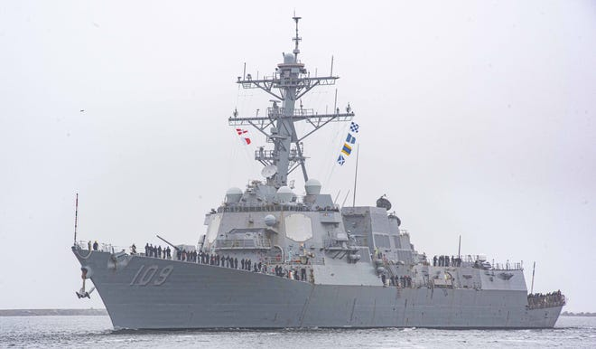 The Arleigh Burke-class guided-missile destroyer USS Jason Dunham (DDG 109) relocated to Naval Station Mayport from Norfolk, Va., as part of a series of homeport shifts that will gradually increase Mayport's destroyer presence.