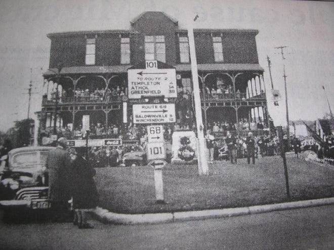 The Commercial House is shown during a local celebration in the 1940s in Gardner.