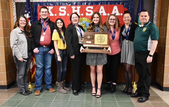 Members of Satanta High School's Scholar Bowls team include Joyce Apsley, left, Braden Hoskinson, Nohemi Miramontes, Jody Zimmerman, Ella Burrows, Abbigail Purcell, Sicely Jackson, and Ryan Burrows.