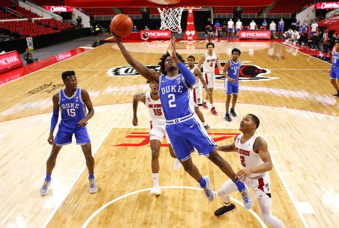 Duke's DJ Steward (2) shoots against North Carolina State  during a game at PNC Arena in Raleigh, N.C. on Saturday, Feb. 13.
