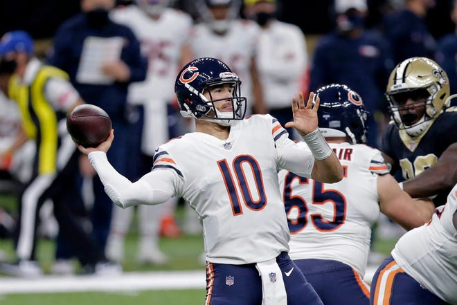 Chicago Bears quarterback Mitchell Trubisky (10) passes in the first half of an NFL wild-card playoff game against the New Orleans Saints in New Orleans, Sunday, Jan. 10.