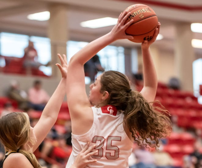 Glen Rose's Aimee Flippen, seen here in action against Gatesville earlier in the year, scored 10 points in the Lady Tigers'  58-41 win over Vernon in the first round on the Class 4A playoffs on Friday afternoon in Mineral Wells.