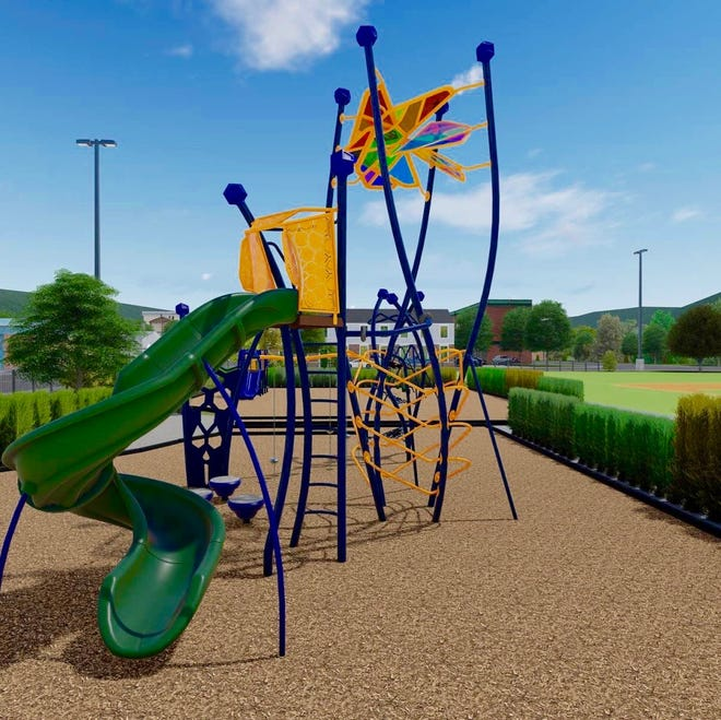 This play structure for ages 5-12 will be installed at Beery Field if the Douglas Park Project group is able to raise money and win a grant from the Michigan Department of Natural Resources. [Courtesy Anna Gregg]