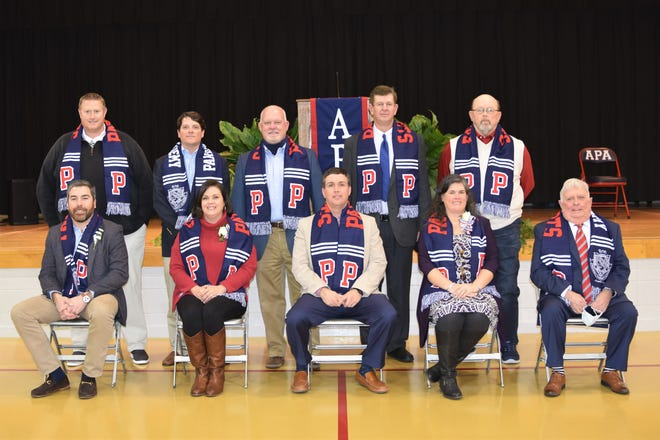 "Parrott Academy's fourth athletic Hall of Fame class: (left to right) Back: Mark Keener, Jordan Blount, Bert Bright, Billy Taylor, Jesse ""Frankie"" Grant. Front: Justin Good, Mary Margaret Herring, Matt Beaman, Tiffany Barnes, and Bob Mooring. Not pictured, Jaclyn Ervin and Scott Manning."