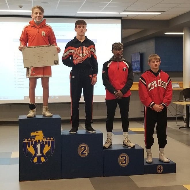 At 113 Brock Burgess, far right, finished fourth at Towanda to qualify for the KSHSAA substate tournament this weekend in McPherson.