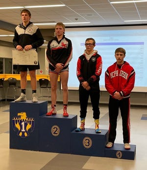 At 152 pounds Gavin Richardson, far right, finished fourth at Towanda to qualify for the KSHSAA 4A Substate Wrestling Tournament in McPherson this weekend.