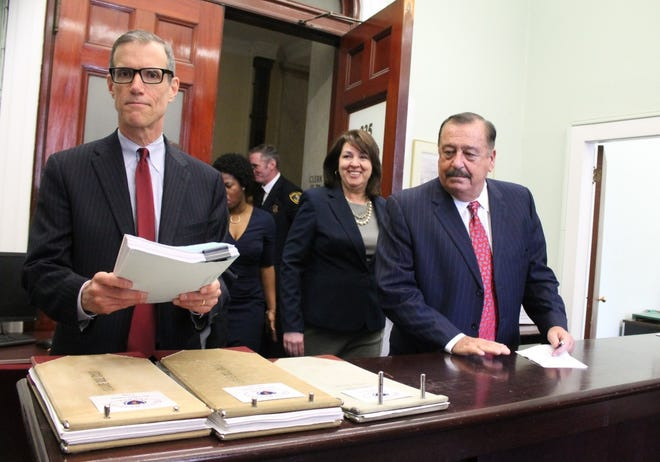 State Sen. William Brownsberger, left, shown with state Rep. Claire Cronin and state Rep. Ron Mariano in 2018, was appointed to lead redistricting work on the part of the Senate.