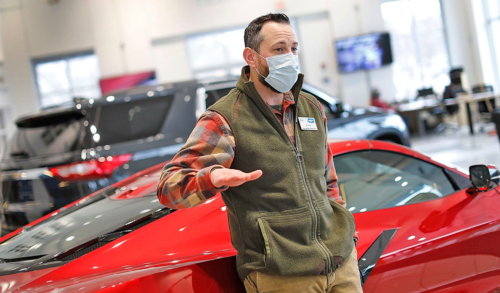 Presidents Day weekend is one of biggest three-day sales periods for local auto dealers. Sales manager Erick Smith is pictured in the showroom at Best Chevrolet in Hingham on Monday, Feb. 15.