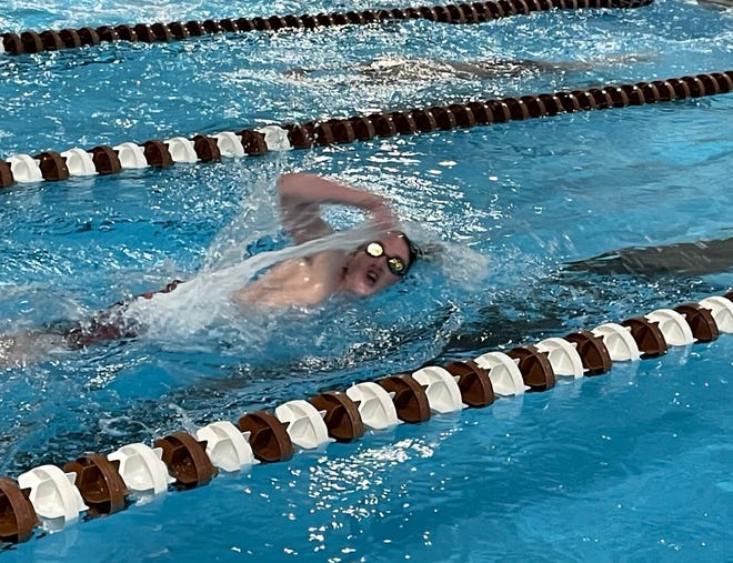 Pekin co-op's Parker Herrin swims freestyle at Dunlap. The freshman from Tremont finished third in the 100 freestyle and 200 freestyle, and was on the second-place 200 freestyle relay team and third-place 400 freestyle relay team.