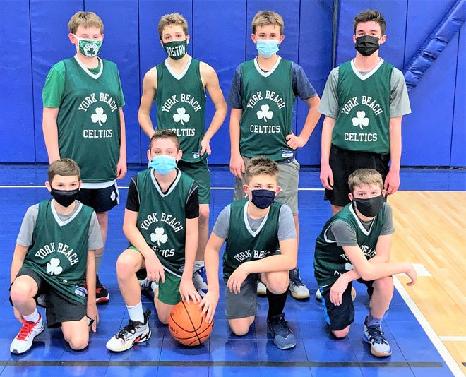 The York Beach Celtics, a seventh grade boys basketball team, lost to the Hampton Warriors in the semifinals of the Rim Basketball League in Hampton. York went 4-3 in the league. Pictured, bottom row, from left, is Bowden Mann, Parker Beauchesne, Brennan Ciani, and Robbie Hanscom. Pictured, top row, from left, is Evan Medina, AJ Reinertson, Reece MacDonald, and Jack Armlin.