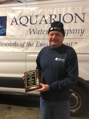 Glenn Eaton, Aquarion Senior Pump Operator from Rye, New Hampshire, receives the 2020 Meritorious Achievement Award.
