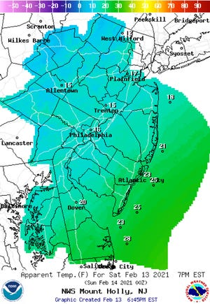 """This """"apparent temperature"""" map combines heat index and wind chill depending on forecast temperatures to display what it feels like outside this morning. Lowest apparent temperatures appear to be in the Poconos, with West Milford clocking in at 12 degrees."""