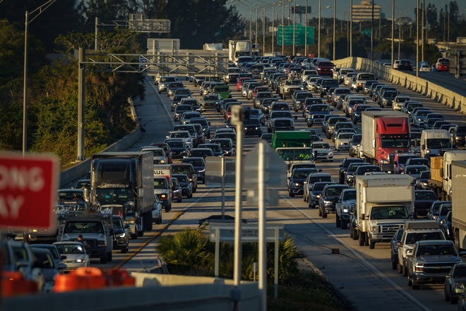 Rush hour traffic at 10th Avenue North and I-95 in Lake Worth Beach in January. Palm Beach County transportation planners want to pitch a tax dedicated solely to transportation projects.