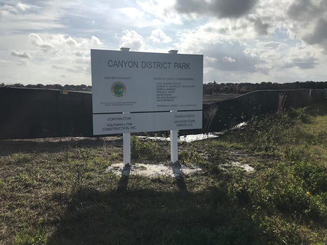 A sign has been posted announcing that construction of the new county park west of Boynton Beach has begun. It will not include a dog park.