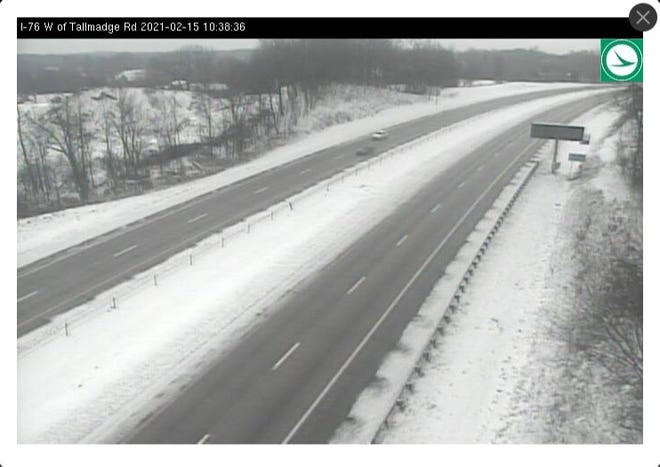 This clip from an ODOT cameral shows I-76 west of Tallmadge Road in Brimfield.