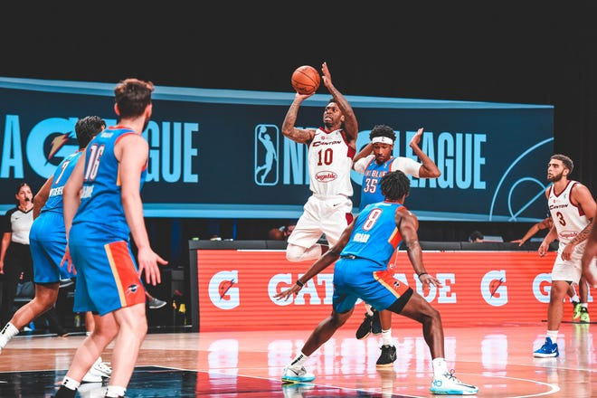 The Charge's Sheldon Mac (10) pulls up for a shot against the Oklahoma City Blue in an NBA G League game on Feb. 14, 2021 at AdventHealth Arena in Orlando, Florida.