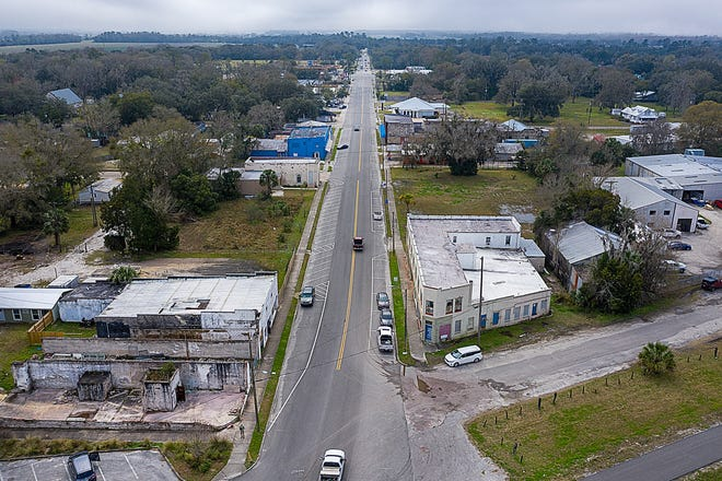 An aerial photograph shows North Main Street in Hastings on Feb. 10, 2021.