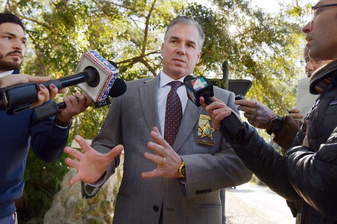 Chuck Mulligan, a spokesman for the St. Johns County Sheriff's Office, talks with the media in 2019. [Bob Self/Florida Times-Union]