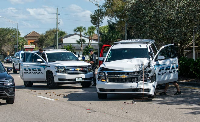 The scene of a crash involving a Sarasota Police Department vehicle on Fruitville Road in Sarasota on Monday.