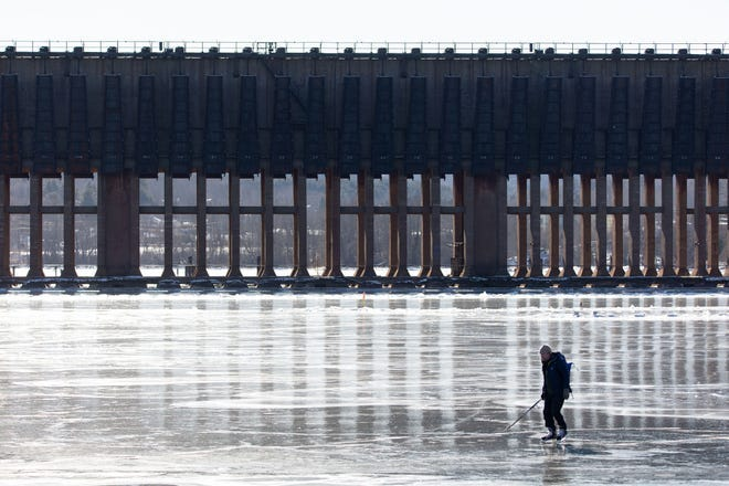 The recent cold snap created a massive ice rink right on Lake Superior in Michigan's Upper Peninsula.