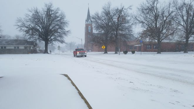 Snow and temperatures in the single digits kept many off the roads Sunday afternoon in Shawnee.